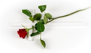 Ålgård en rød rose + kors 1